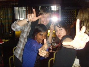 james, Ange and Mel. They make shapes with their hands